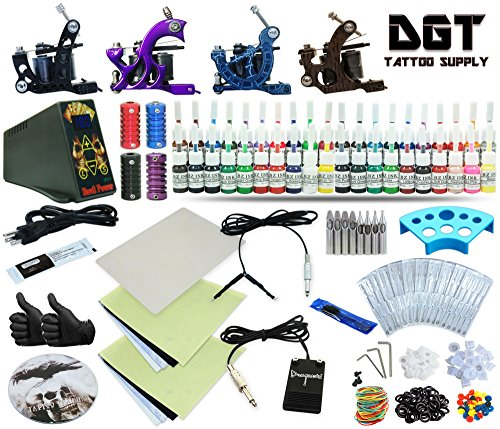 (DGT Complete Tattoo Kit 4 Machines Power Supply 40 colors ink set)
