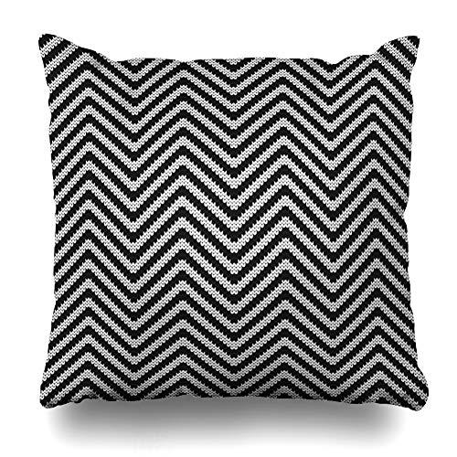 (Ahawoso Throw Pillow Cover Close Pattern Zigzag Herringbone Small Black Classic Craft Design Scottish Zippered Pillowcase Square Size 20 x 20 Inches Home Decor Pillow Case)