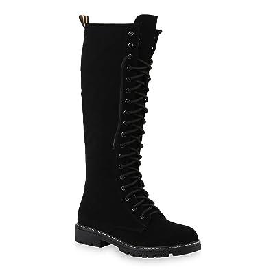 Stiefelparadies Damen Stiefel Profilsohle Blockabsatz Schnürstiefel Schuhe  148804 Schwarz Worker 36 Flandell 3f4d25d3a8