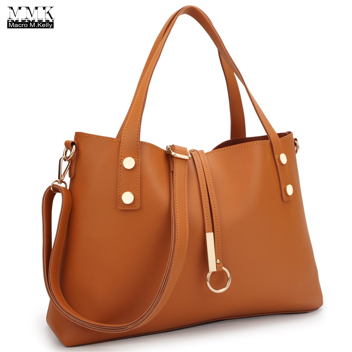 MMK Collection Newest 2 in 1 Spring and Summer Super Soft Solid Color PU Leather Large Crossbody Tote (3392) with Removable Free Flowery Bucket Bag Inside (Brown)