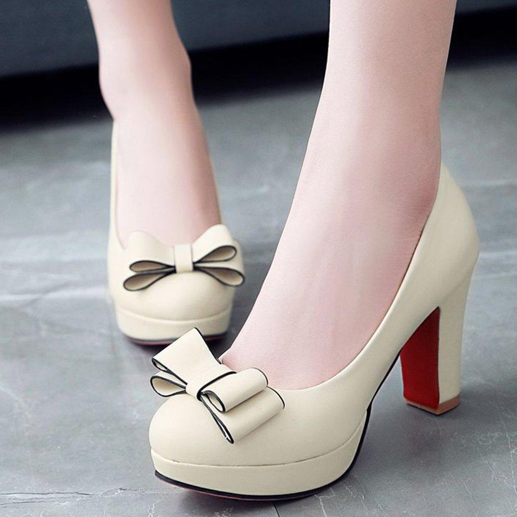 Amazon.com | DecoStain Womens Bowtie Chunky High Heel Platform Pumps Work Party Round Toe Dress Shoes | Pumps