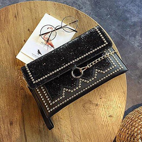 personnalisés Sac sac diamant Or main sac soirée sacs à à au rivets main Couleur sac enveloppe brillant à de cuir à banquet Noir lumineux à sac percer sequined en de OqxrO1