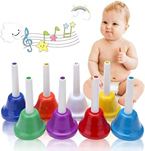 Coloful Musical Hand Bell Set, 8 Note Diatonic Metal Hand Bells Musical Toy Percussion Instrument for Festival,Musical Teaching,Family Party for Kids by Koogel
