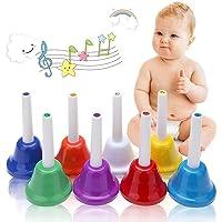 koogel campanas de mano musical, 8Note metal campanas de mano para los niños, Coloful