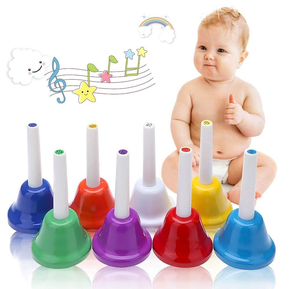 Coloful Musical Hand Bell Set,8 Note Diatonic Metal Hand Bells Musical Toy Percussion Instrument for Festival,Musical Teaching,Family Party for Kids by Koogel by Koogel
