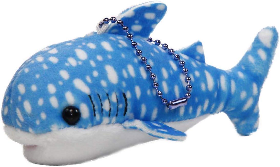 Mochi Puni Whale Shark Plush Toy Super Soft Stuffed Animal Aquarium Collection Keychain Small Size Blue 4 Inches