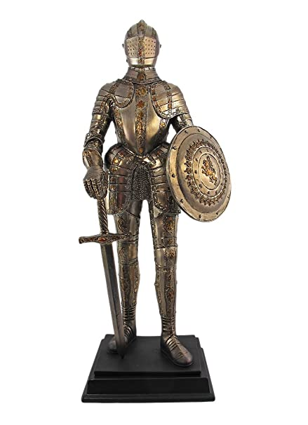 1275 Inch Medieval Knight With Shield And Sword Statue Figurine