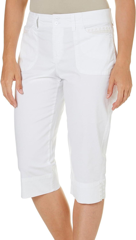 Gloria Vanderbilt Women/'s Anita Belted Casual Capri Pant,Shell White,Size:10