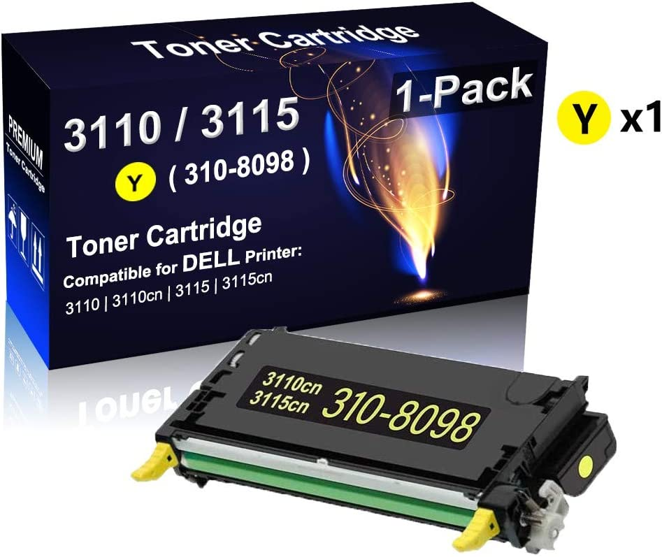 1-Pack 3110cn Compatible High Yield 3110//3115 310-8098 Toner Cartridge use for Dell 3110 Up to 8,000 Pages per Cartridge 3115cn Series Printer 3115 Yellow