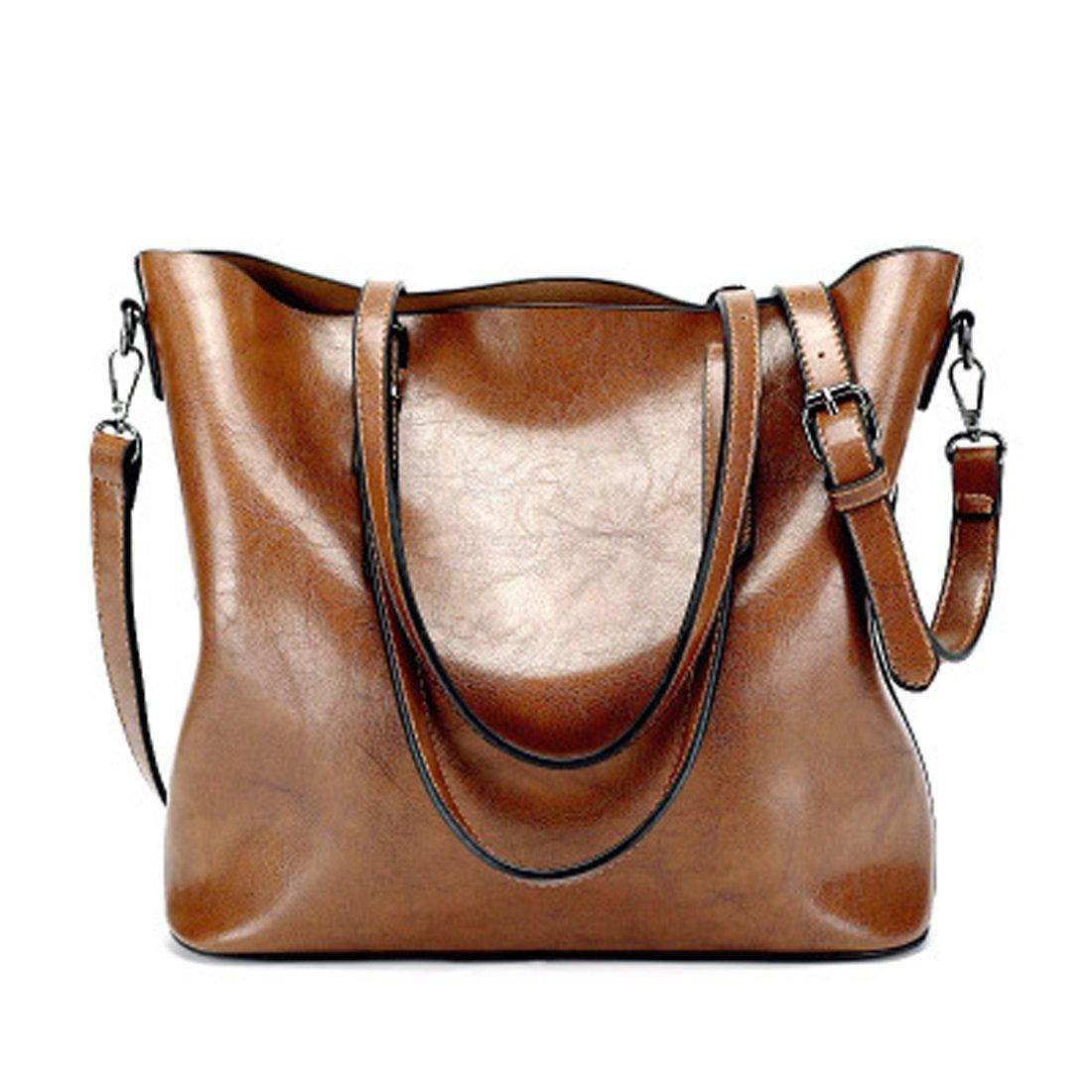 Women's Bags Handbags Shoulder Bags Genuine Leather Brown Big Casual All Seasons Black Coffee Brown Wine (Color : Brown) by WTING (Image #2)