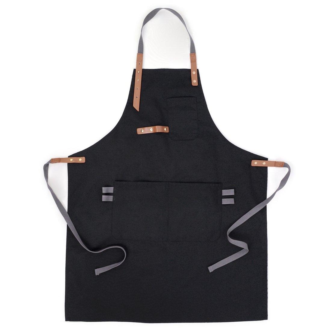 xianghengエプロンユーティリティ調節可能なネックウエストのレディースメンズポケット付きChelf Waitress Painting ブラック UC0181/XHUS1  ブラック B0779V22MT