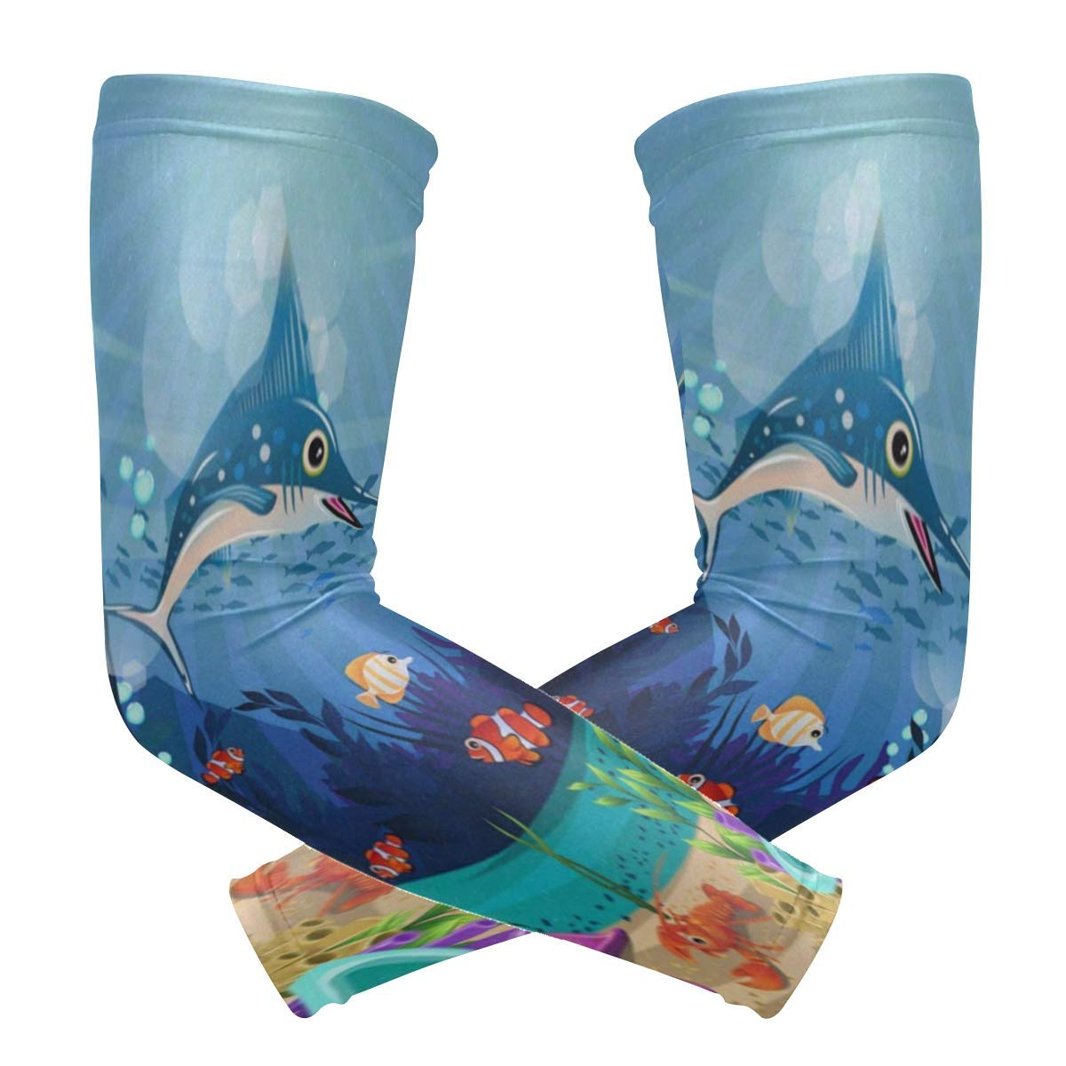 Arm Sleeves Cute Ocean Sea World Fish Life Aquaitc Coral Floral Mens Sun UV Protection Sleeves Arm Warmers Cool Long Set Covers White