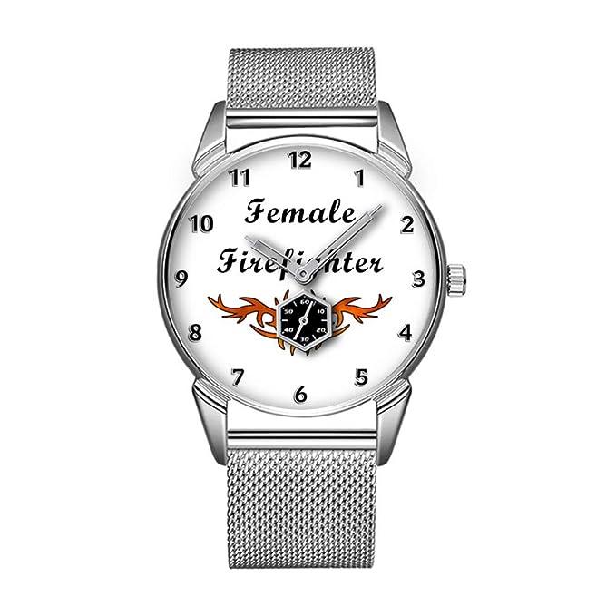 Reloj Impermeable al Agua de la Personalidad, Minimalista, Modelo 347e, Tatuaje de Brigada de Bomberos Femenino: Amazon.es: Relojes