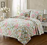 Cozy Line Home Fashions Blooming Camellia Quilt Bedding Set, Red White Floral Flower Printed 100% Cotton Reversible Coverlet Bedspread Gifts for Women (Green, Queen - 3 Piece)