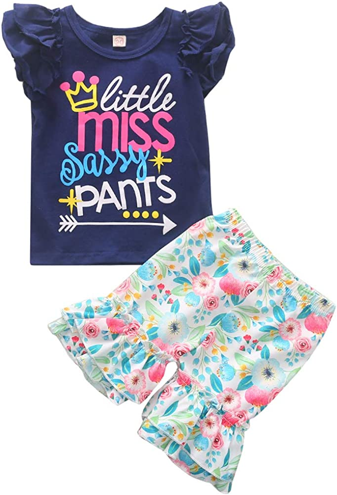 Todder Girl Summer Outfit Miss Sassy Pants Floral Shorts Sets