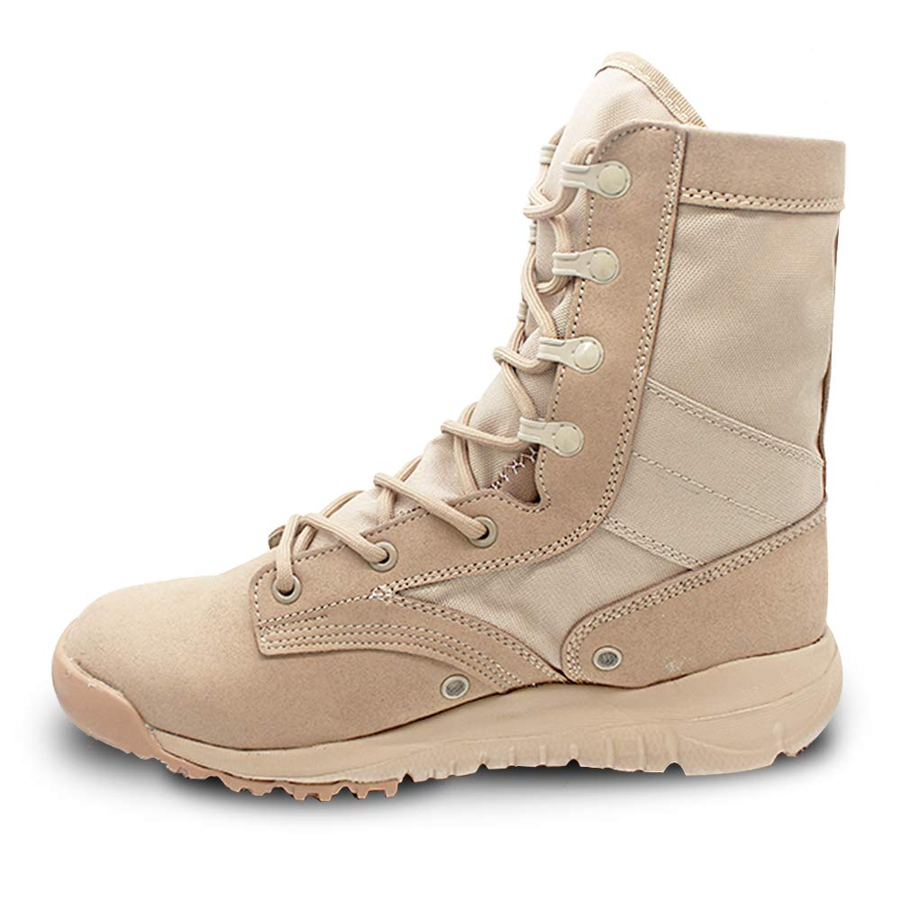 PANY Summer Men's Ultra Light Breathable Combat Boots Commando Outdoor Desert Tactical Boots Military Boots 8 D(M) US