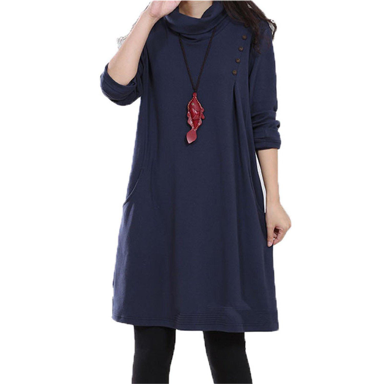 d50d0954 Amazon.com: Eault Elegant winter dress for women wear turtneck collar keep  warm long sleeve knee length winter dress women clothing 38 blueXXL  Novelty: ...