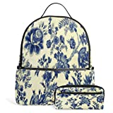Laptop Backpack Lightweight Waterproof Travel Backpack with Texture Floral Patterns School Bag Laptop Bookbag Daypack for Women