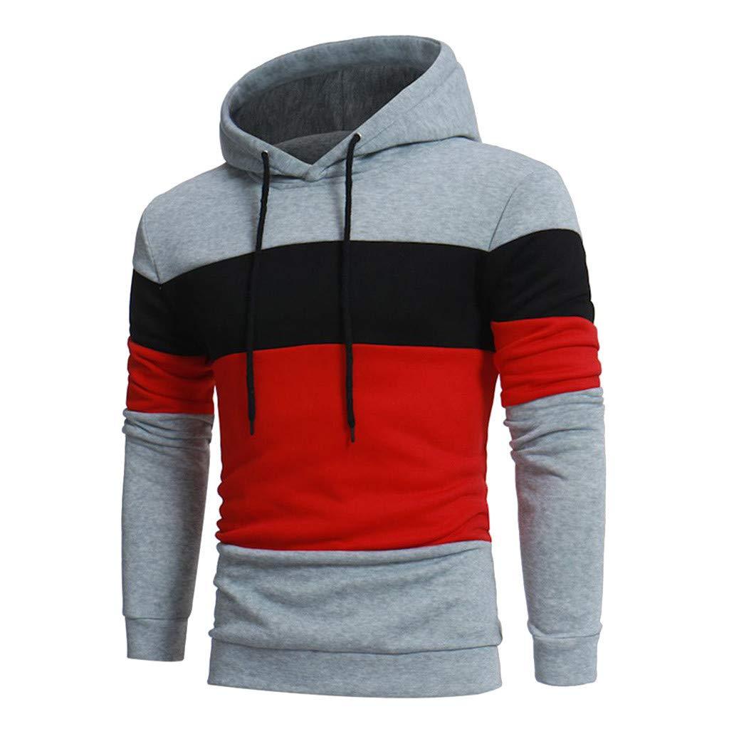 AcisuHu Hot Men's Hoodies Sun Protection Hoodie T-Shirt Long Sleeve Multi-Block Stitching Shirt Sweatshirt Sport