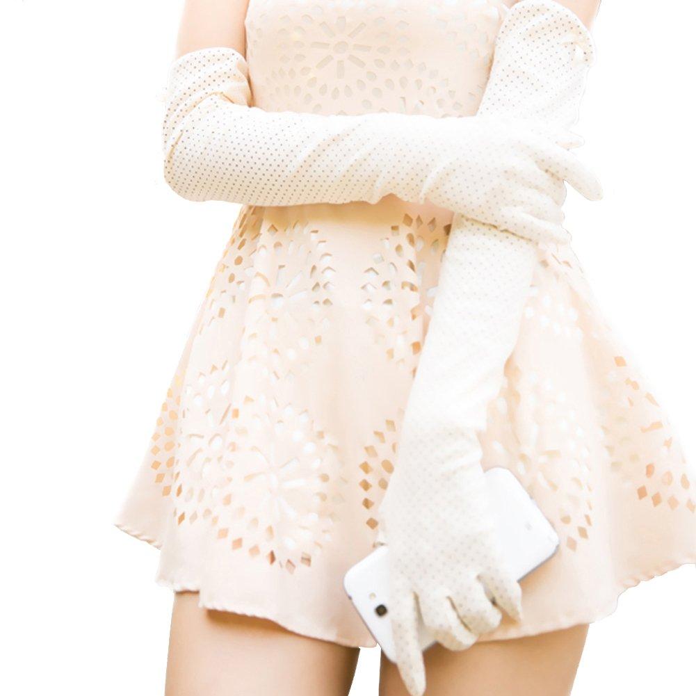 Nappaglo Women's Long Sunscreen Driving Gloves Touchscreen Cotton Outdoor for Summer UV Protection (Creamy-white (Touchscreen))