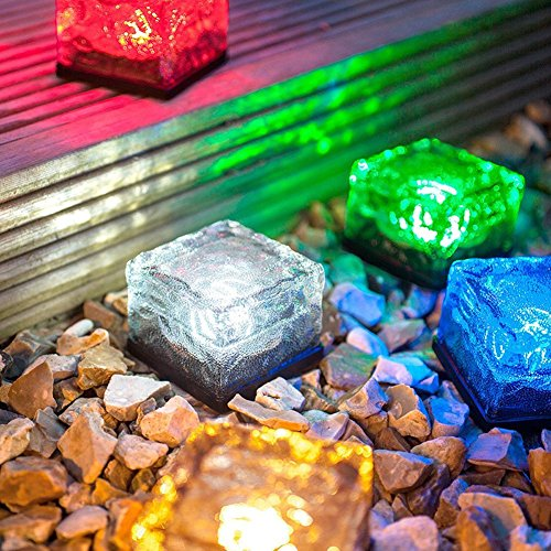 Solar Ice Rocks Ground Light,AMZSTARWaterproof Solar Path Light Solar Frosted Glass Paver Garden In-groud Buried Light Changing Colors Solar Brick Path Light(Set of 3) (Multicolor) (Paver Set)