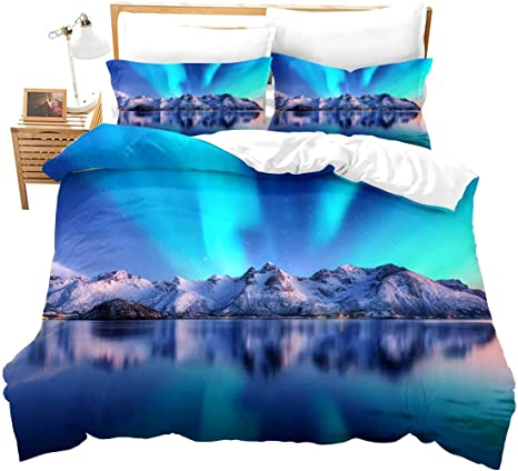 Amazon Com Feelyou Aurora Theme Bedding Sets Aurora Borealis Northern Lights Duvet Cover Nature Astronomical Landscape Snow Mountain Pattern Comforter Set For Kids Teens 3 Piece Full Bedding Decoration Gift Home Kitchen