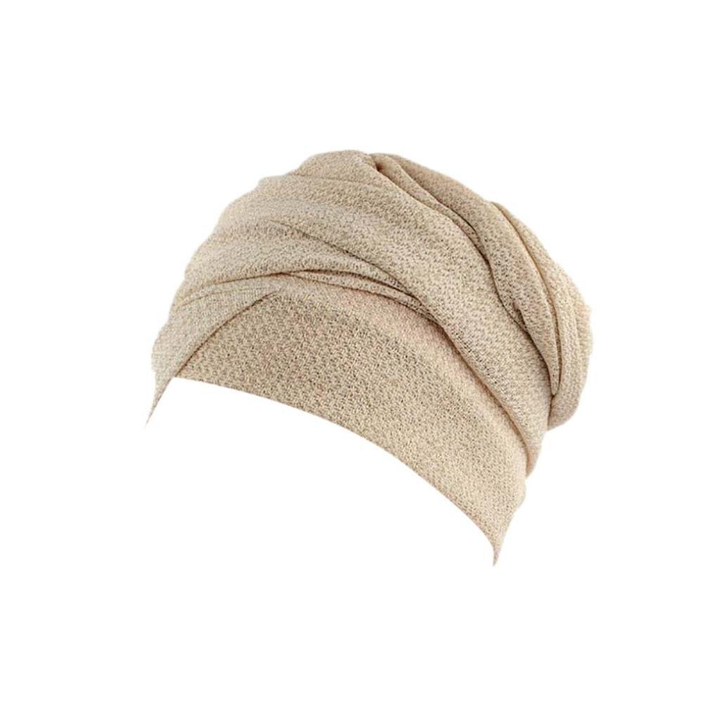 URSING Damen Krebs Chemo Hygiene Alopezie Make-up Hut Falten Stretch Schal Turban M/ützen Einfarbig Turban Kopfbedeckung Frauen Stretch Muslime Kopftuch Sommer Elegant Kopft/ücher