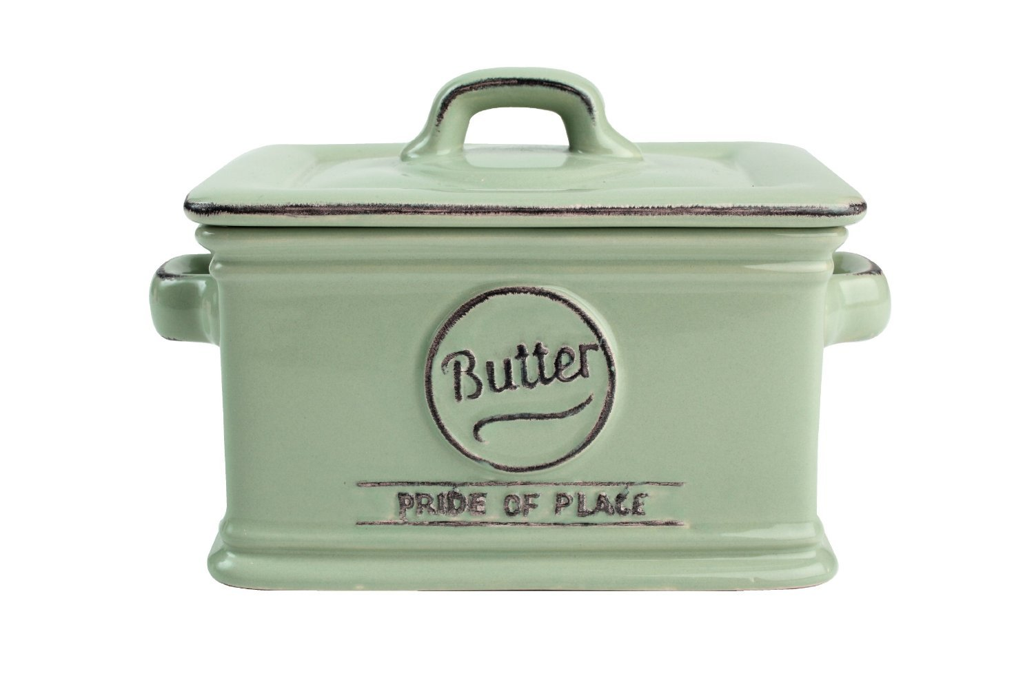 T&G Woodware Pride of Place Old Green Butter Dish 18000
