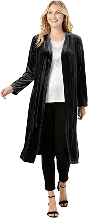 1920s Coats, Furs, Jackets and Capes History Plus Size Velour Duster Jacket Jessica London Womens $49.99 AT vintagedancer.com