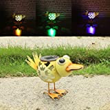 W-DIAN solar metal art outdoor decorative Animal garden decor LED lawn duck