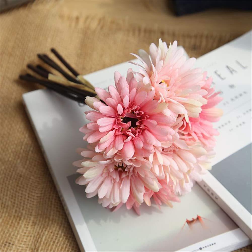 Gerbera 花ばね 造花 シルクローズ ブーケ 結婚式 ホームデコレーション ウェディング装飾 1束 ピンク LHM-ZSPENGHUA27GZFEN B07H7L2LDY ピンク
