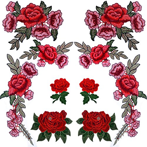 BronaGrand 10 Pieces 5 Pairs Embroidered Patches Rose Flower Sew on Patch Applique for DIY Clothing, Jeans,Sewing ()