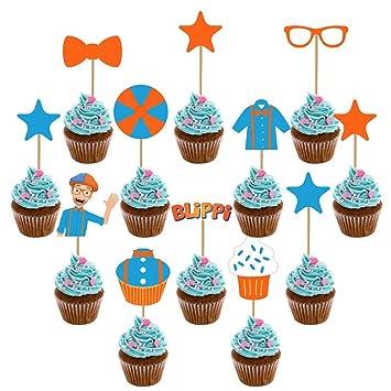 Amazon.com: Juego de 12 adornos para tartas Blippi, para ...