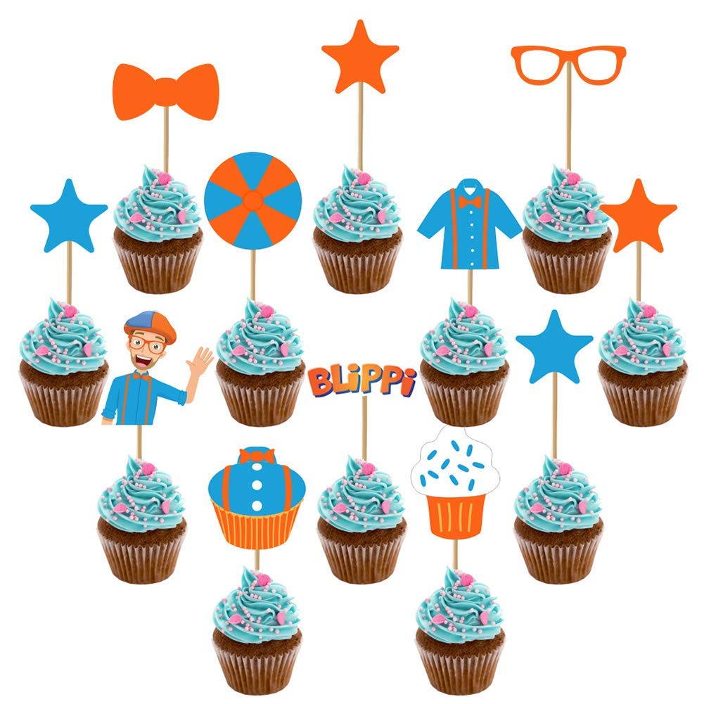 12pcs/Set Blippi Cake Toppers Picks Cupcake Decoration Kids Birthday Party Supplies Gift