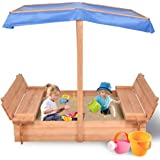 Costzon Kids Foldable Cabana Sandbox with 2 Convertible Benches & 1 Piece Black Non-Woven Fabric Cloth (55-Inch with Canopy)