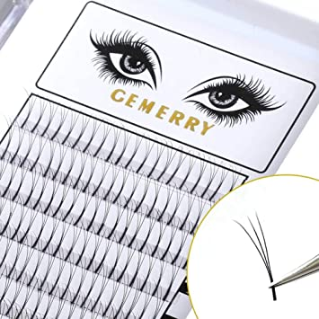 3033fbf67df Amazon.com : GEMERRY 0.7mm Volume Lash Extensions, C Curl 8-14mm Mixed Tray  3D Eyelash Extensions Fans Silk Natural Premade Professional Individual  Cluster ...