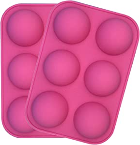 Semi Sphere Silicone Mold, 2 Packs Baking Mold for Making Hot Chocolate Bomb, Cake, Jelly, Dome Mousse (Small hole pink)