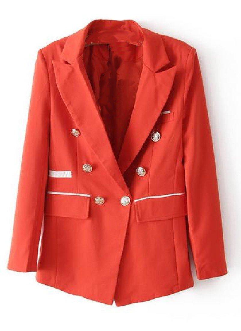 Doufine Womens Slim Fit Leisure Solid Colored Double-Breasted Blazer Orange S by DoufineWomen (Image #3)