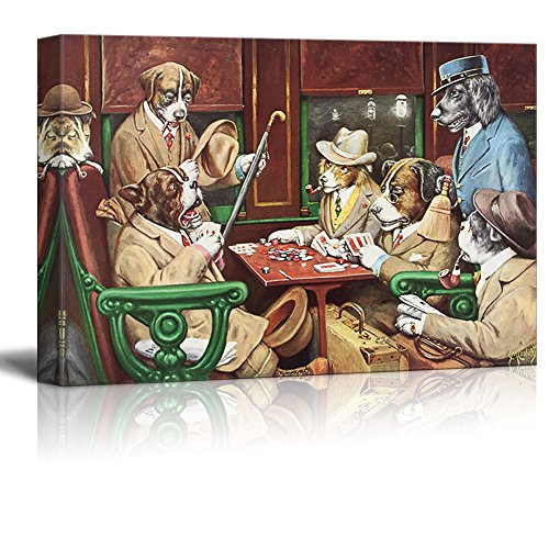 Dogs Playing Poker Series His Station and Four Aces by by C M Coolidge