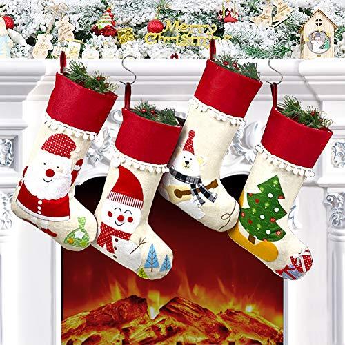 Chaussettes de Noël, Lot de 4 Grandes Chaussettes de Noël a Suspendre, Cartoon Xmas tree, Noël Bonhomme de Neige Père, Décoration pour Noël Cheminée Vitrine Sac de Bonbons
