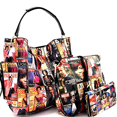 Michelle Obama Magazine Cover Print Multi Pocket 3 in 1 Single Strap Hobo Purse Handbag Crossbody Bag Wallet SET (MULTI)