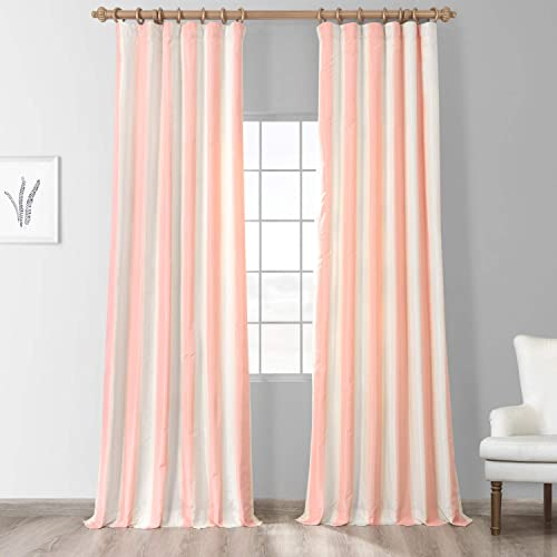 HPD Half Price Drapes PTSCH-11091-108 Designer Striped Faux Silk Curtain 1 Panel