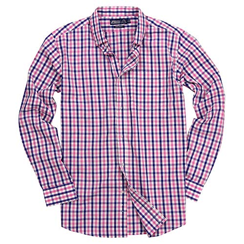 (Men's 100% Cotton Plaid Long Sleeve Shirt (Pink/White/Blue, Regular Fit:)