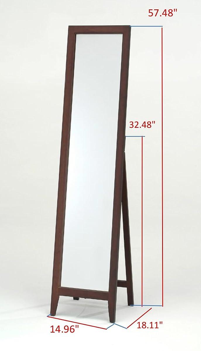 Kings Brand Walnut Finish Solid Wood Frame Floor Mirror