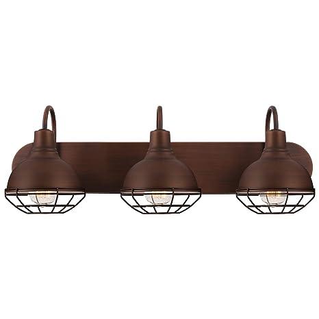 Revel Liberty - Lámpara de tocador industrial con jaula de 3 luces ...
