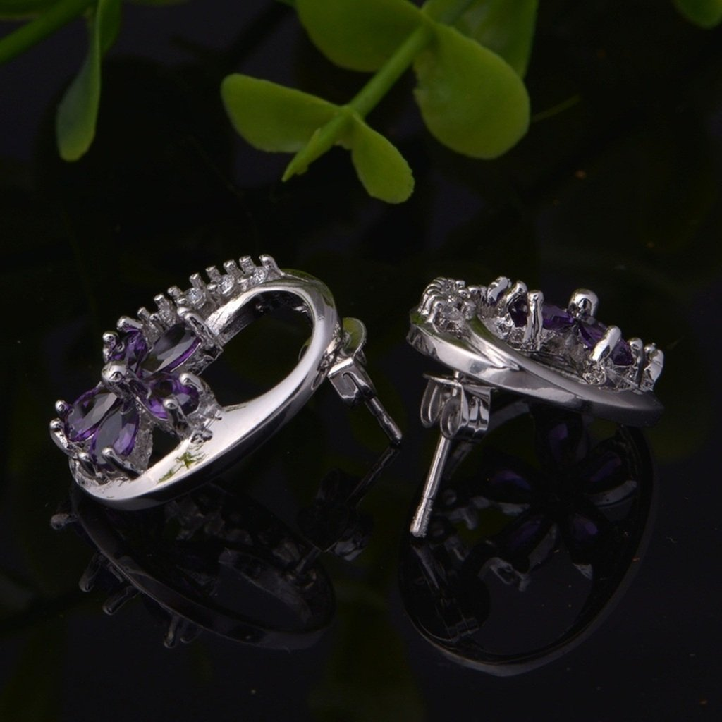 KnSam Women Platinum Plate Pierced Stud Earrings Flower Purple Crystal Rhinestone Novelty Earrings