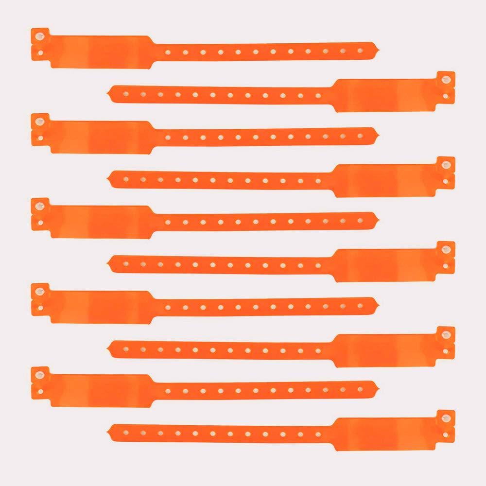 vinile per eventi con ampia superficie scrivibile trasparente Set di 100 bracciali in plastica personalizzabili e impermeabili