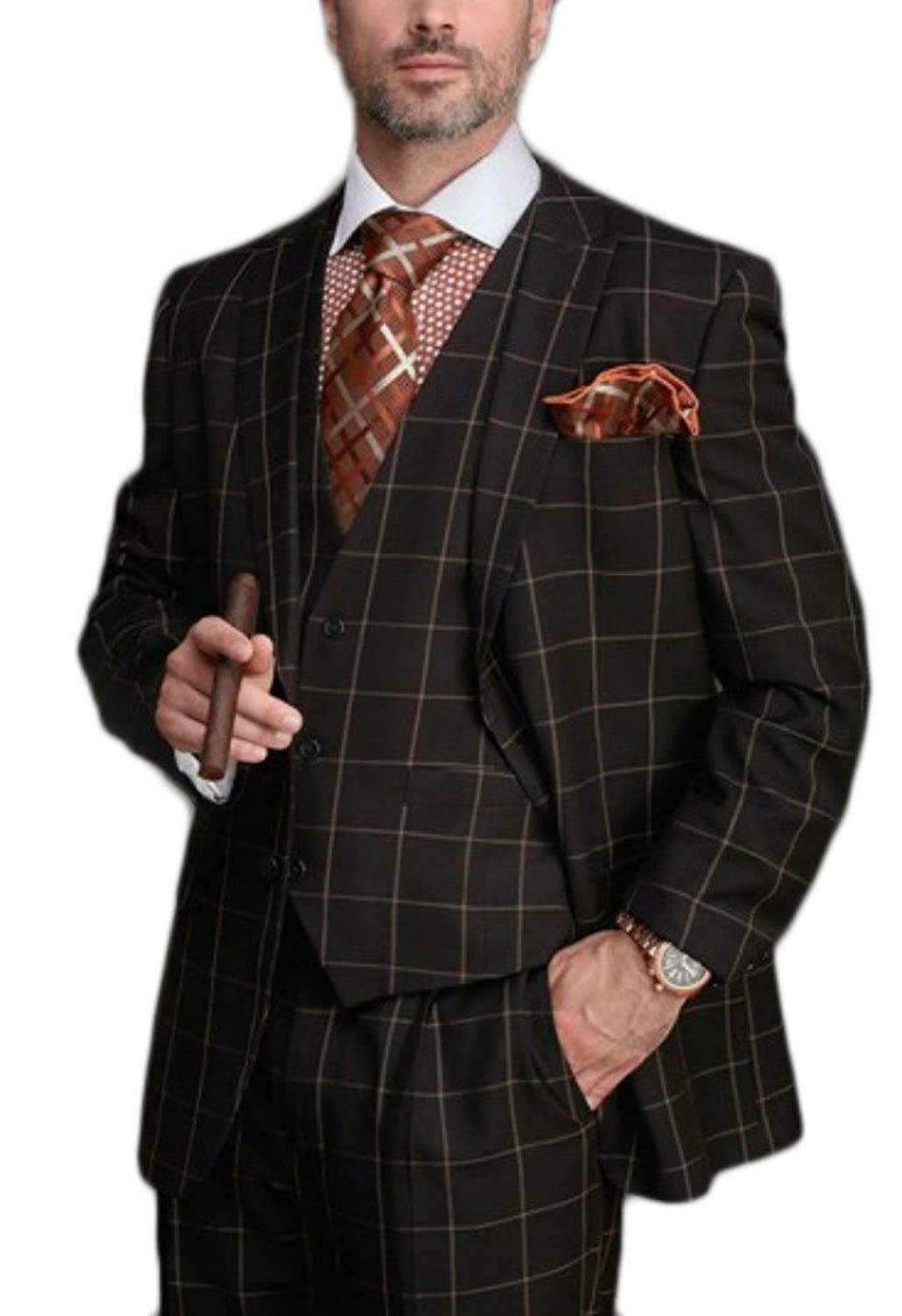 1920s Mens Suits Steven Land Classic Fit Brown Windowpane Three Piece Suit With Peak Lapels $219.00 AT vintagedancer.com