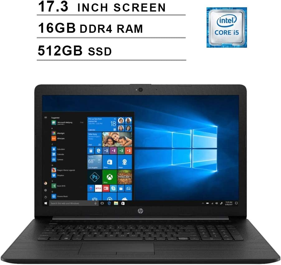 2020 Newest HP Pavilion 17.3 Inch Laptop (Intel Quad-Core i5-8265U up to 3.9 GHz, 16GB DDR4 RAM, 512GB SSD, Intel UHD 620, WiFi, Bluetooth, HDMI, Webcam, DVD, Windows 10) (Black)