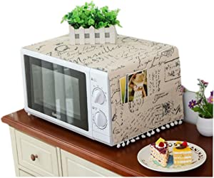 Annchaos Microwave Oven Cover Dust Oil Proof Cloth with Storage Pockets Cotton Linen Kitchen Toaster Appliance Protector (JIS Letters)